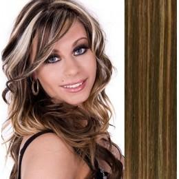 Vlasy pro metodu Pu Extension / TapeX / Tape Hair / Tape IN 50cm - platina/světle hnědá
