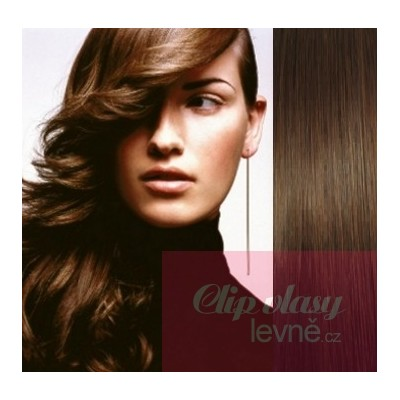Clip in vlasy 53cm 100% ľudské - REMY 100g - stredne hnedá