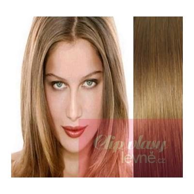 Clip in vlasy 53cm 100% ľudské - REMY 100g - svetlo hnedá