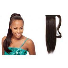 Clip in příčesek culík/cop 100% lidské vlasy 50cm - tmavě hnědý