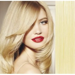Clip in vlasy 63cm 100% ľudské - REMY 120g - najsvetlejšia blond