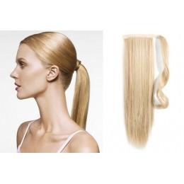 Clip in příčesek culík/cop 100% lidské vlasy 60cm - nejsvětlejší blond