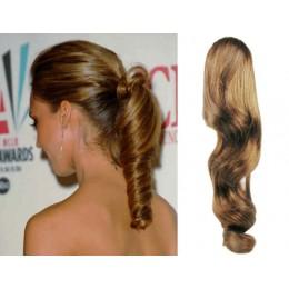 Clip in vlnitý příčesek/culík/cop 100% lidské vlasy 50cm - světle hnědý