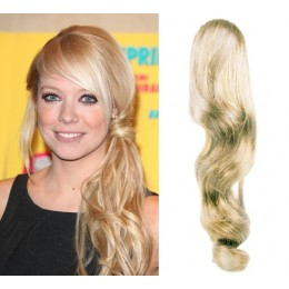 Clip in vlnitý příčesek/culík/cop 100% lidské vlasy 50cm - platina