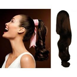 Clip in příčesek culík/cop 100% lidské vlasy 60cm vlnitý - tmavě hnědý