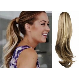 Clip in příčesek culík/cop 100% lidské vlasy 60cm vlnitý - světlý melír