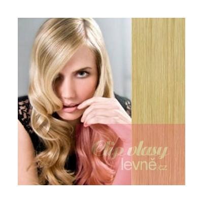 Clip in vlasy 53cm 100% ľudské - REMY 100g - prírodná blond