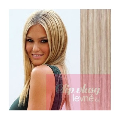 Clip in vlasy 63cm 100% ľudské - REMY 120g - platina svetlo hnedá 0dbd24c50bf