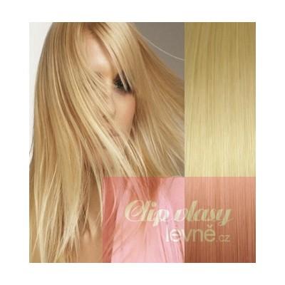Clip in vlasy 53cm 100% ľudské - REMY 100g - svetlejšia blond