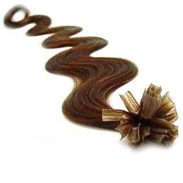 Vlnité vlasy k prodlužování keratinem 50cm - světlejší hnědé