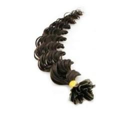 Vlasy európskeho typu na predlžovanie keratínom 50cm kučeravé - prírodná čierna