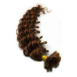 Vlasy európskeho typu na predlžovanie keratínom 50cm kučeravé - stredne hnedá