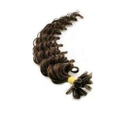 Vlasy európskeho typu na predlžovanie keratínom 60cm kučeravé - tmavo hnedá
