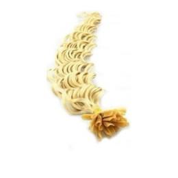 Vlasy európskeho typu na predlžovanie keratínom 60cm kučeravé - najsvetlejšia blond