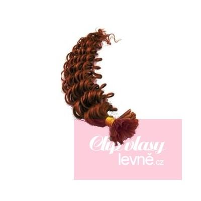 Vlasy európskeho typu na predlžovanie keratínom 60cm kučeravé - medená 9850522884b