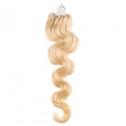 Vlasy pre metódu Micro Ring / Easy Loop 60cm vlnité - najsvetlejšia blond