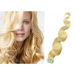 Vlnité vlasy pro metodu TapeX / Tape Hair / Tape IN 50cm - nejsvětlejší blond