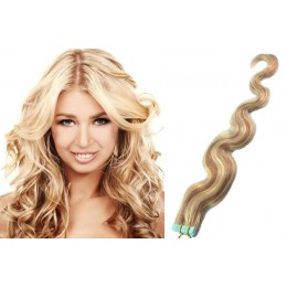 Vlnité vlasy pro metodu TapeX / Tape Hair / Tape IN 50cm - platina / světle hnědá