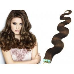 Vlnité vlasy pro metodu TapeX / Tape Hair / Tape IN 60cm - středně hnědé