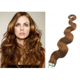 Vlnité vlasy pro metodu TapeX / Tape Hair / Tape IN 60cm - světle hnědé