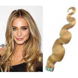 Vlnité vlasy pro metodu TapeX / Tape Hair / Tape IN 60cm - přírodní blond