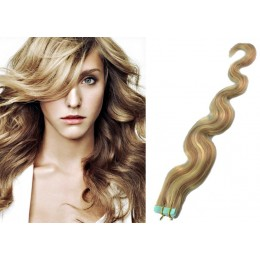 Vlnité vlasy pro metodu TapeX / Tape Hair / Tape IN 60cm - světlý melír
