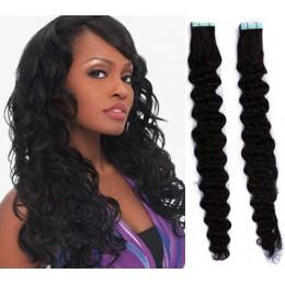 Kudrnaté vlasy pro metodu TapeX / Tape Hair / Tape IN 60cm - černé