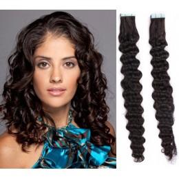 Kudrnaté vlasy pro metodu TapeX / Tape Hair / Tape IN 60cm - přírodní černé