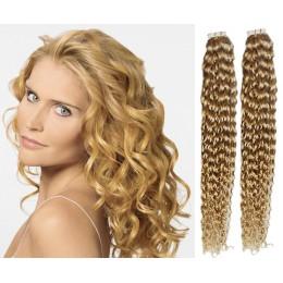 Kudrnaté vlasy pro metodu TapeX / Tape Hair / Tape IN 60cm - přírodní blond