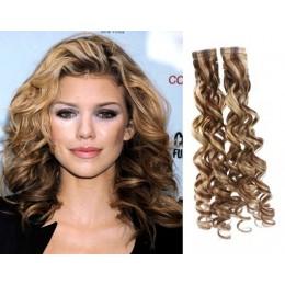 Kudrnaté vlasy pro metodu TapeX / Tape Hair / Tape IN 60cm - světlý melír