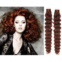 Kudrnaté vlasy pro metodu TapeX / Tape Hair / Tape IN 60cm - měděná