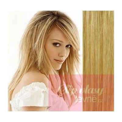 Clip in vlasy 53cm 100% ľudské - REMY 100g - prírodná/svetlejšia blond