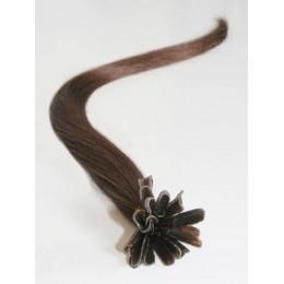 Clip in maxi set 43cm pravé lidské vlasy - REMY 140g - tmavě hnědá