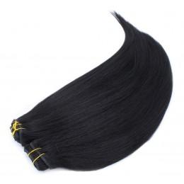 Clip in maxi set 43cm pravé ľudské vlasy - REMY 140g - čierna