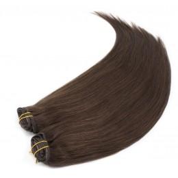 Clip in maxi set 43cm pravé ľudské vlasy - REMY 140g - tmavo hnedá