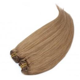 Clip in maxi set 43cm pravé ľudské vlasy - REMY 140g - svetlo hnedá