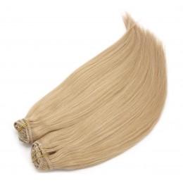 Clip in maxi set 43cm pravé ľudské vlasy - REMY 140g - prírodná blond