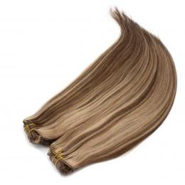 Clip in maxi set 43cm pravé ľudské vlasy - REMY 140g - tmavý melír