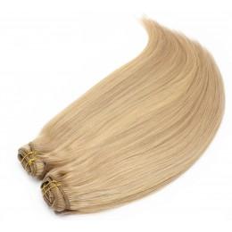 Clip in maxi set 43cm pravé ľudské vlasy - REMY 140g - prírodná/svetlejšia blond