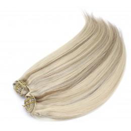 Clip in maxi set 43cm pravé ľudské vlasy - REMY 140g - platina/svetlo hnedá
