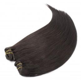 Clip in maxi set 53cm pravé ľudské vlasy - REMY 200g - prírodná čierna
