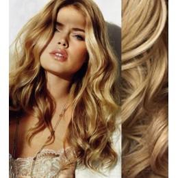 Clip in vlnité vlasy pravé lidské REMY 53cm - přírodní blond