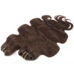 Vlnitý clip in maxi set 53cm pravé ľudské vlasy - REMY 200g - tmavo hnedá