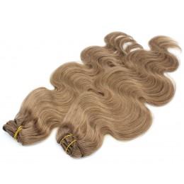 Vlnitý clip in maxi set 53cm pravé ľudské vlasy - REMY 200g - svetlo hnedá