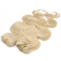 Vlnitý clip in maxi set 53cm pravé ľudské vlasy - REMY 200g - najsvetlejšia blond