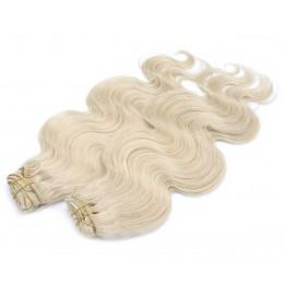 Vlnitý clip in maxi set 53cm pravé ľudské vlasy - REMY 200g - platina