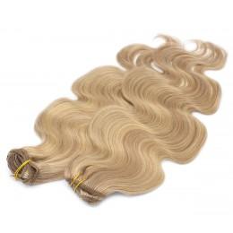 Vlnitý clip in maxi set 53cm pravé ľudské vlasy - REMY 200g - prírodná/svetlejšia blond