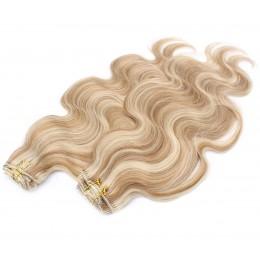 Vlnitý clip in maxi set 53cm pravé ľudské vlasy - REMY 200g - svetlý melír