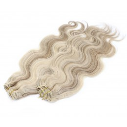 Vlnitý clip in maxi set 53cm pravé ľudské vlasy - REMY 200g - platina/svetlo hnedá