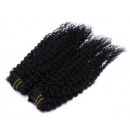 Kučeravý clip in maxi set 53cm pravé ľudské vlasy - REMY 200g - čierna
